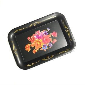 Other - Set of Four Black Metal Floral Trays Flowers Lot